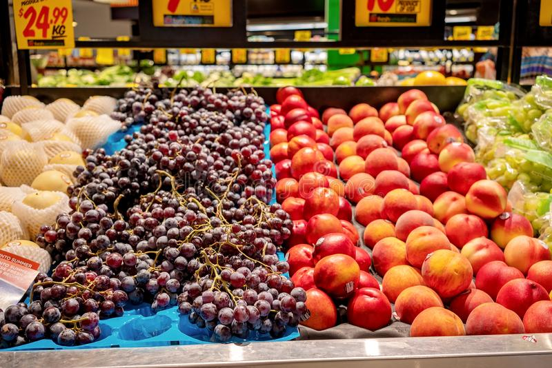 Fresh Fruit For Sale. Brisbane, Queensland, Australia - 28th September 2019: Fresh fruit for sale at a supermarket royalty free stock photo