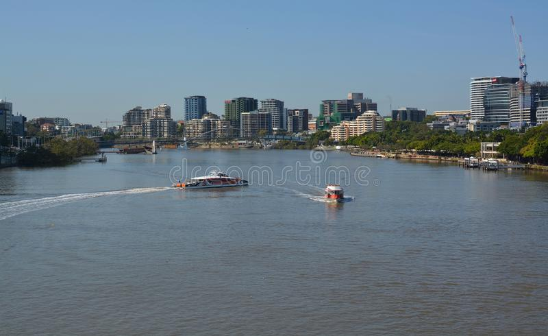 Brisbane River Ferries Morning Panorama, Queenland Australia royalty free stock photos