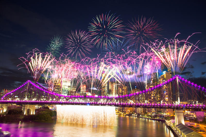 Brisbane river fire. Is an annual big firework show in one of the iconic landmark -- story bridge in brisbane, attracting thousands of people watching along the stock photo