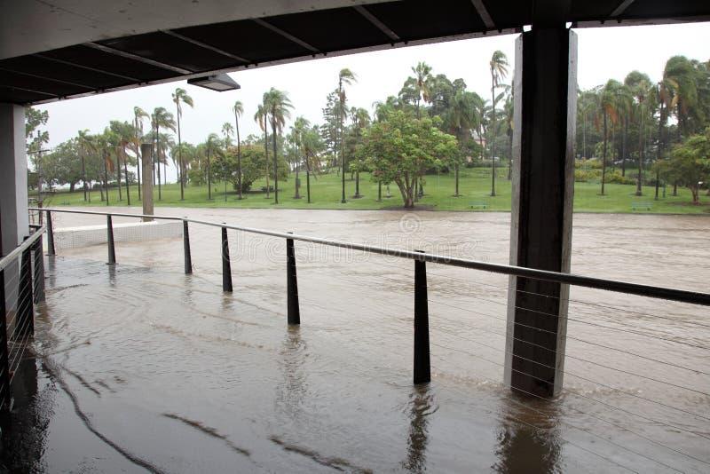 Brisbane River Flooding Breakfast Creek Wharf stock image