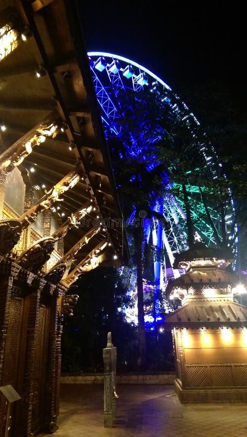 Brisbane wheel and nepalese pagoda stock images