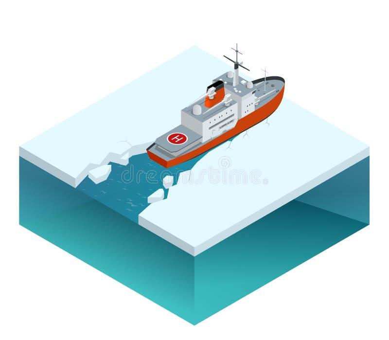 Brise-glace à propulsion nucléaire isométrique illustration stock