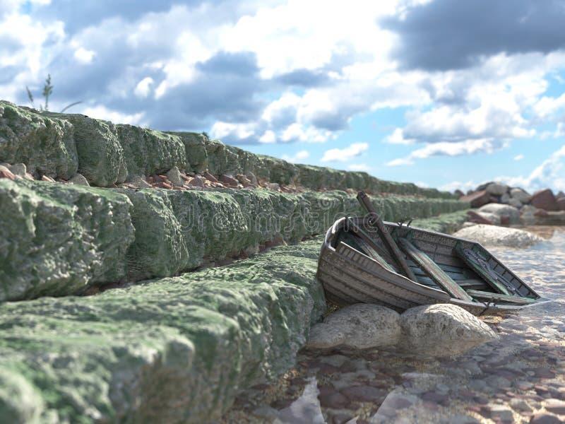 Brise-lames avec les portes et le vieux bateau de pêche image libre de droits