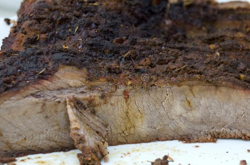 Brisket. Sliced cooked beef brisket ready to eat stock photography