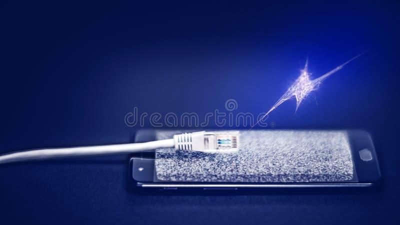 Brist av internetuppkoppling- eller internetcensurbegreppet royaltyfri bild