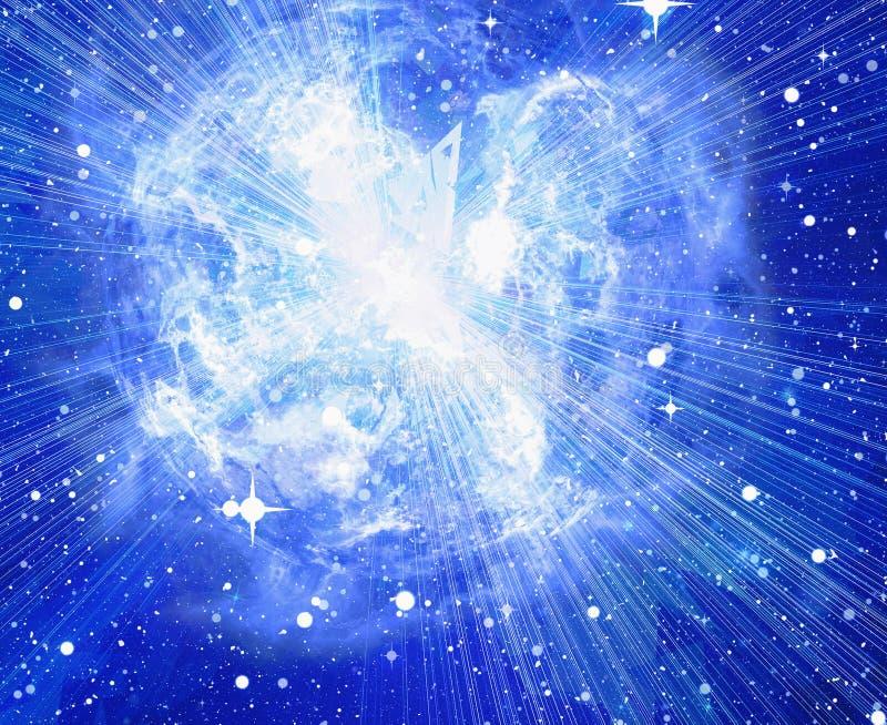 Brist den ljusa blåa elektriska planeten i ett utrymme stock illustrationer