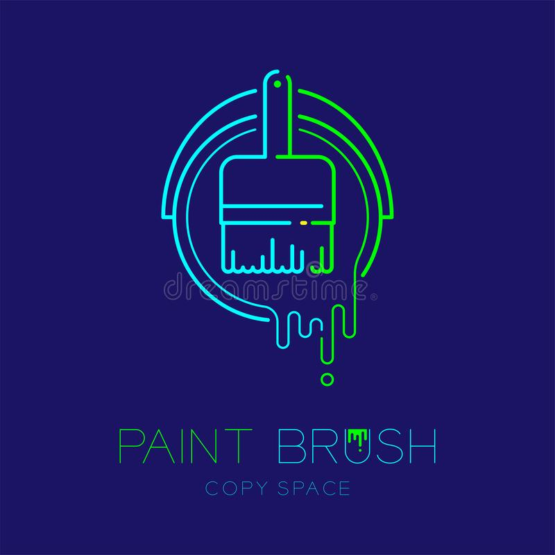 Bristle paint brush in bucket frame logo icon outline stroke set dash line design illustration isolated on dark blue background. With Paint Brush text and copy stock illustration