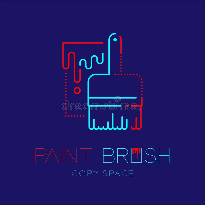 Bristle paint brush and bucket logo icon outline stroke set dash line design illustration isolated on dark blue background with. Paint Brush text and copy space stock illustration