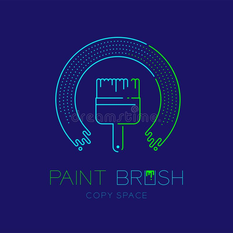 Bristle paint brush and circle frame logo icon outline stroke set dash line design illustration isolated on dark blue background. With Paint Brush text and copy royalty free illustration