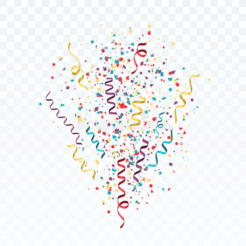 Bristning av färgrika konfettier och banderoller Festlig mall med konfettier och band vektor vektor illustrationer
