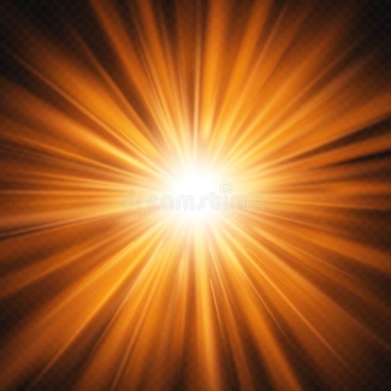 Bristning av isolerad röd orange glödande ljus effekt på genomskinlig bakgrund 10 eps royaltyfri illustrationer