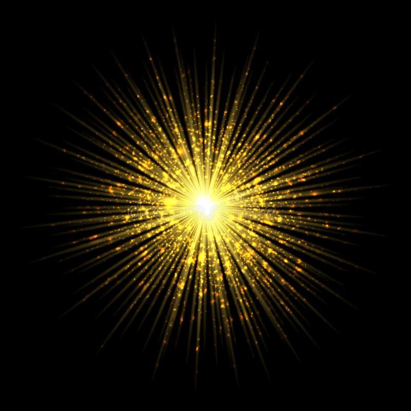 Bristning för stjärnor för ljus effekt för fyrverkerihonnör som magisk isoleras på trans. stock illustrationer