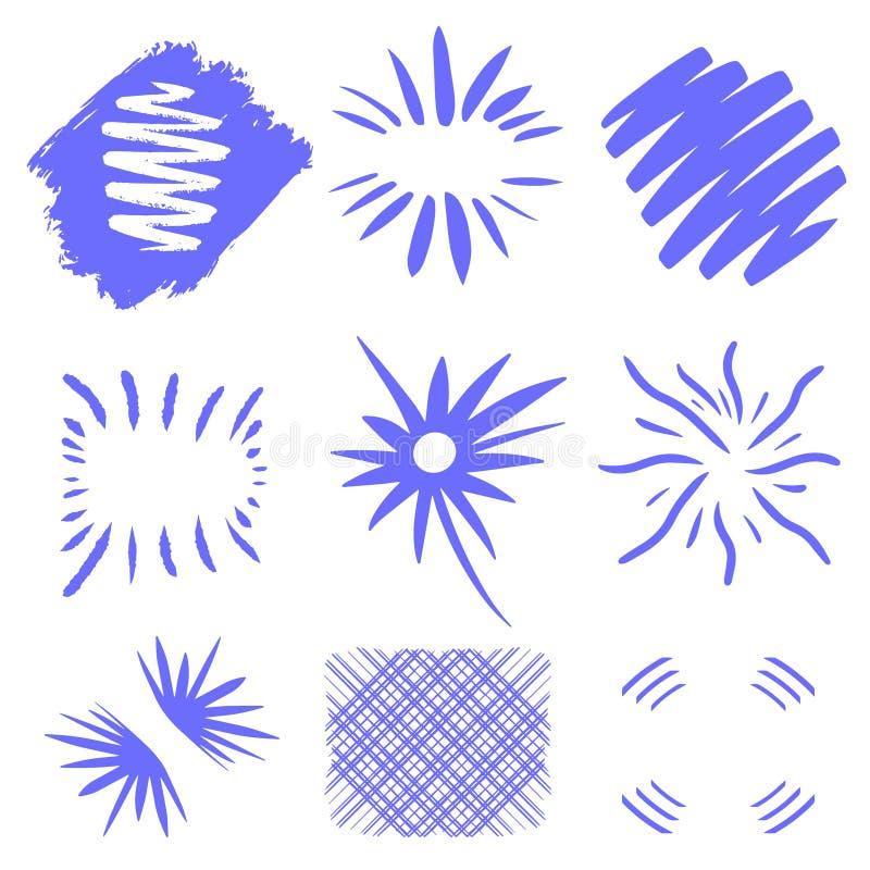 Bristningsvektor Utdragna solbristningar för hand på vit bakgrund Mörkt - blåa geometriska former Unik design för logotext planlä vektor illustrationer