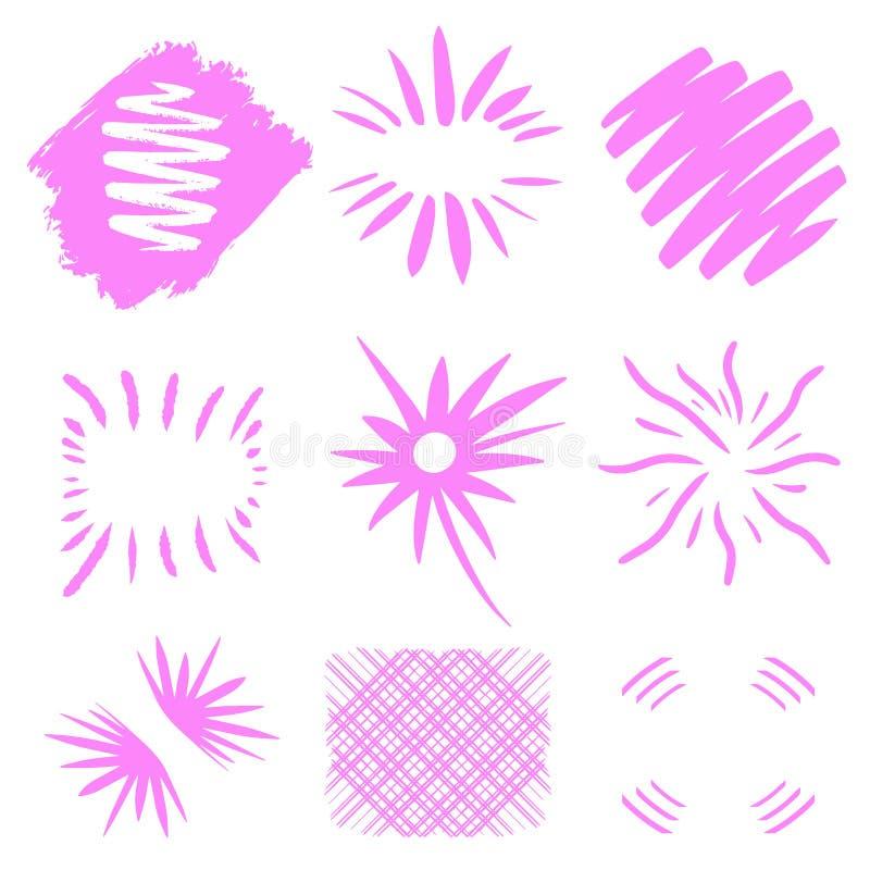 Bristningsvektor Utdragna solbristningar för hand på vit bakgrund rosa geometriska former för neon Unik design för logotext planl stock illustrationer