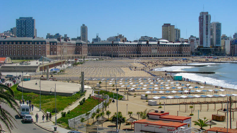 Bristol Beach, Mar del Plata, Buenos Aires. Argentina royalty free stock photo