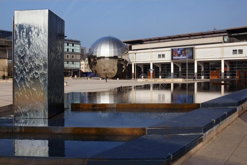 At Bristol - Bristol - United Kingdom. The fountains and globe at the At Bristol development in the City of Bristol in the United Kingdom stock image