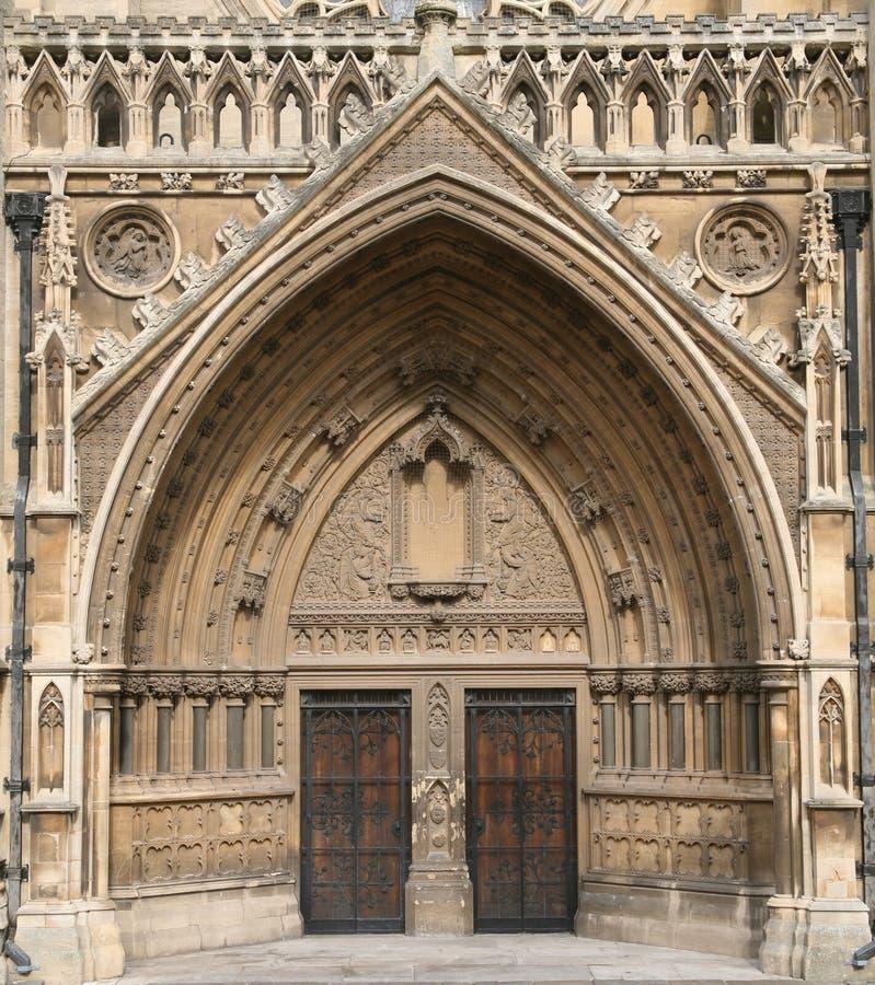 Bristol Cathedral. Ecclesiastical, church, saints, god, door, entrance, green stock photography