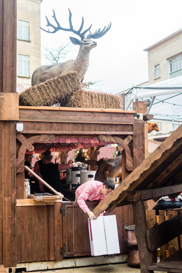 Bristol Christmas Market, German Market - Stag above wooden beer stock photo