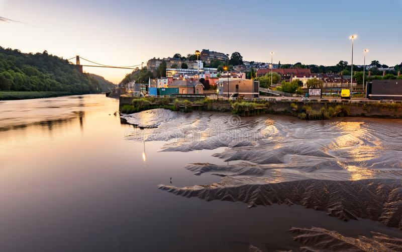 Bristol City UK. The Clifton Suspension Bridge, spanning the picturesque Avon Gorge, is the symbol of the city of Bristol stock images