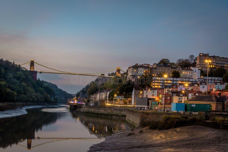 Bristol Cityscape al tramonto fotografie stock