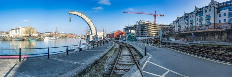 Bristol Docks Panoramic (Kraan) stock fotografie