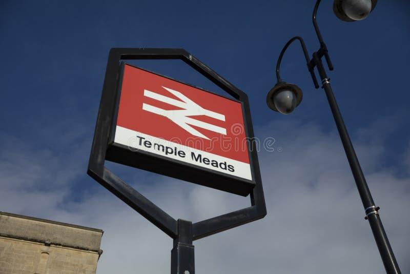 Bristol Förenade kungariket, 21st Februari 2019, ingångssignage för Bristol Temple Meads Station royaltyfri fotografi