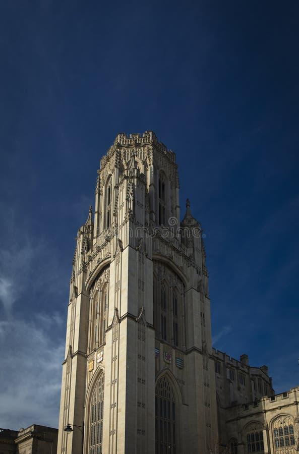 Bristol Förenade kungariket, 21st Februari 2019, Wills det minnes- byggande tornet på universitetet av Bristol royaltyfria bilder