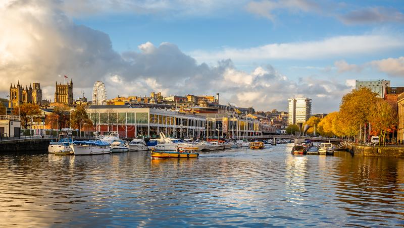 Bristol Harbour and The Watershed in Bristol Harbour in Bristol, Avon, UK. Taken on 7 November 2018 stock photos