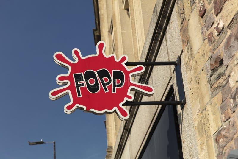 Bristol, het UK, 23 Februari 2019, Winkelteken voor FOPP royalty-vrije stock afbeeldingen