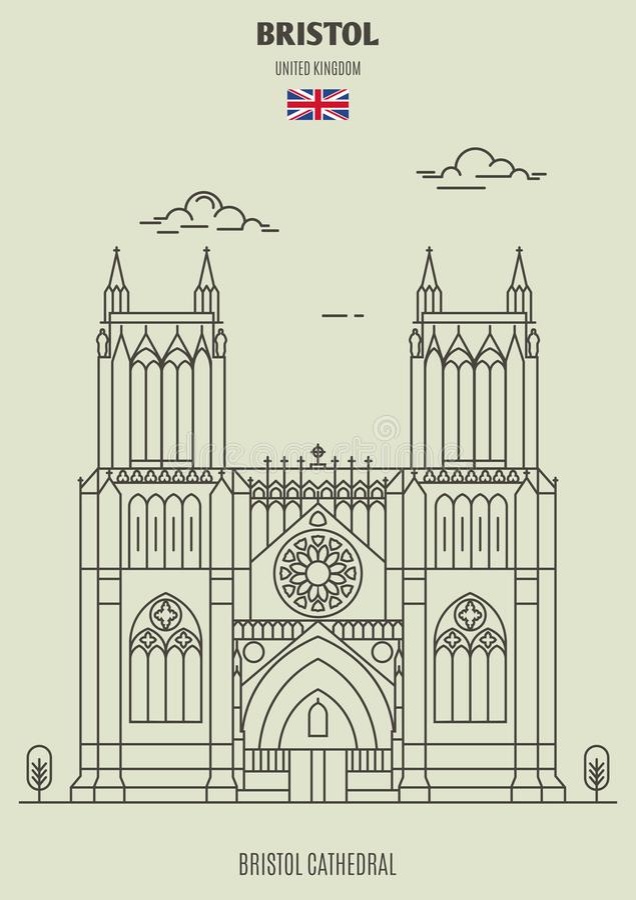 Bristol katedra w Bristol, UK Punkt zwrotny ikona ilustracji