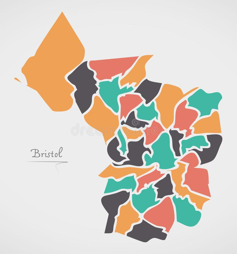 Bristol Map with wards and modern round shapes. Illustration vector illustration