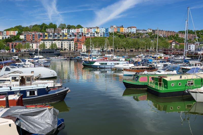 Bristol Marina mit Hotwells im Hintergrund stockfoto