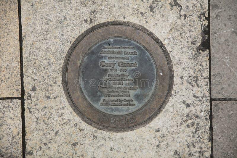 Bristol, Reino Unido, el 21 de febrero de 2019, placa conmemorativa para la estatua de Archibald Leach aka Cary Grant imagen de archivo libre de regalías