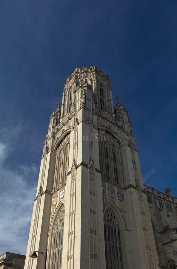 Bristol, Reino Unido, o 21 de fevereiro de 2019, quer a torre de construção memorável na universidade de Bristol foto de stock