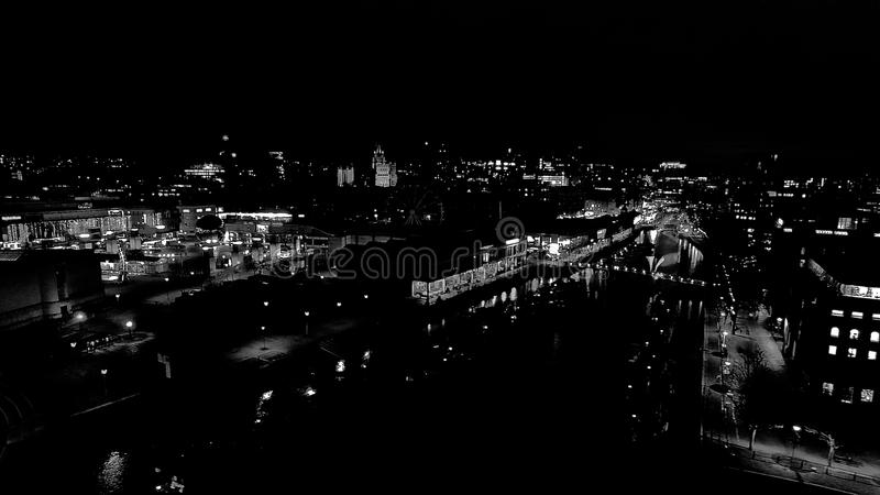 Bristol skeppsdockor på nattetid royaltyfri bild