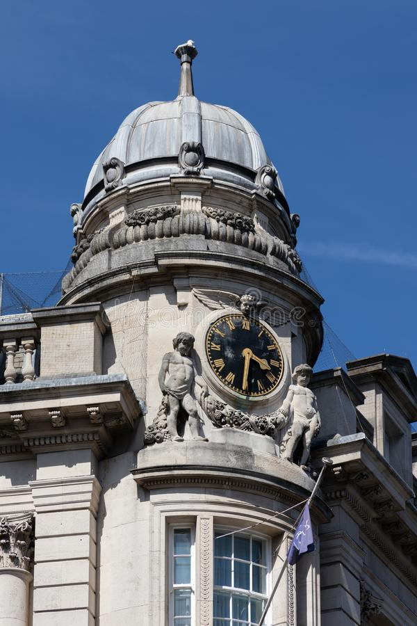 Clock above the jetty restaurant in Bristol on May 14, 2019 stock photo