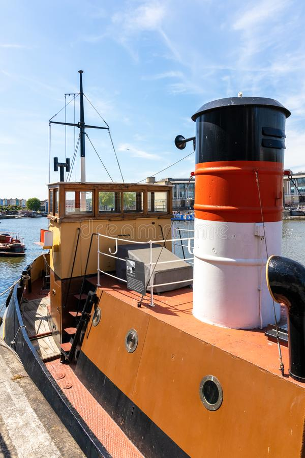 View of  the John King tug on the River Avon in Bristol on May 14, 2019. BRISTOL, UK - MAY 14 : View of  the John King tug on the River Avon in Bristol on May 14 royalty free stock photography