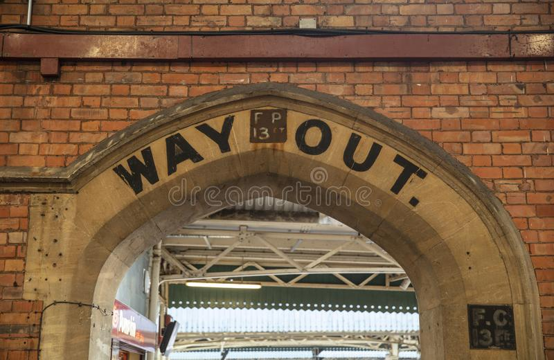 Bristol, United Kingdom, 21st February 2019, old way out signage at Bristol Temple Meads Station. Bristol, United Kingdom, 21st February 2019, old historic way stock images