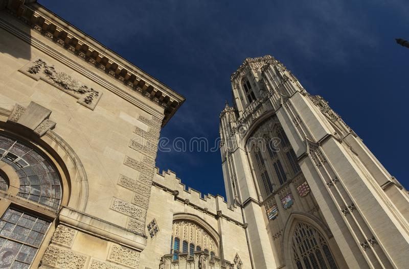 Bristol, United Kingdom, 21st February 2019, Wills Memorial Building Tower at the University of Bristol. Campus royalty free stock photo