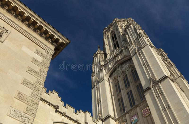 Bristol, United Kingdom, 21st February 2019, Wills Memorial Building Tower at the University of Bristol. Campus royalty free stock photography