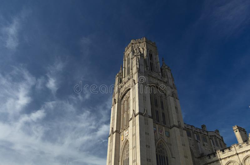 Bristol, United Kingdom, 21st February 2019, Wills Memorial Building Tower at the University of Bristol. Bristol, United Kingdom, 21st February 2019, the Wills royalty free stock photography