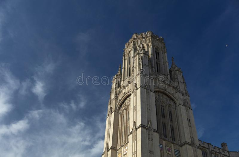 Bristol, United Kingdom, 21st February 2019, Wills Memorial Building Tower at the University of Bristol. Bristol, United Kingdom, 21st February 2019, the Wills stock photography