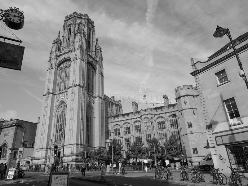 Bristol University Wills Memorial in Bristol in black and white. BRISTOL, UK - CIRCA SEPTEMBER 2016: The Wills Memorial Building part of the University of royalty free stock photos