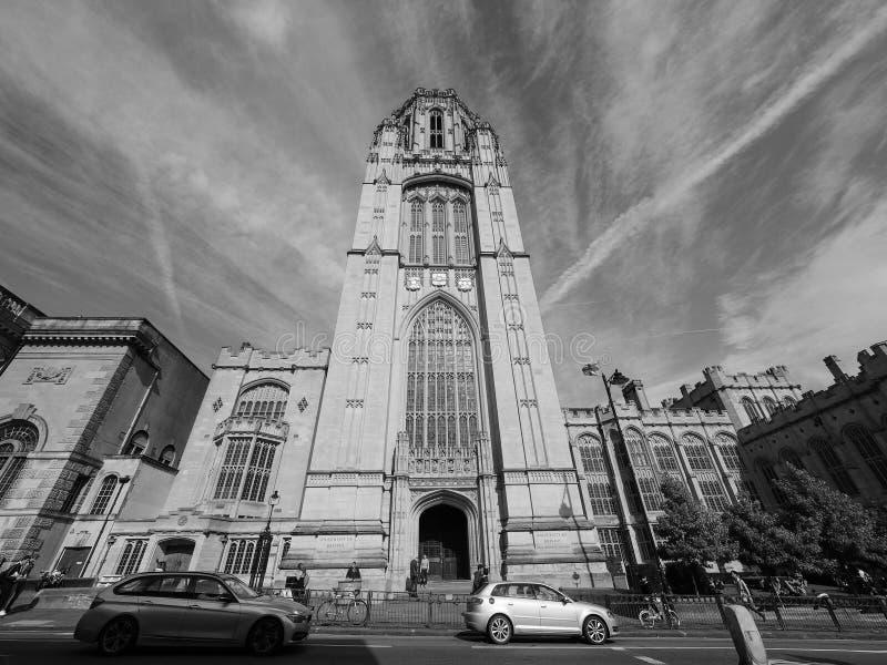 Bristol University Wills Memorial em Bristol em preto e branco imagens de stock
