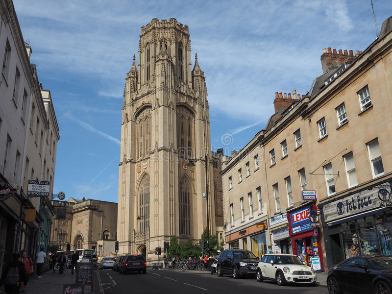 Bristol University Wills Memorial i Bristol royaltyfria foton