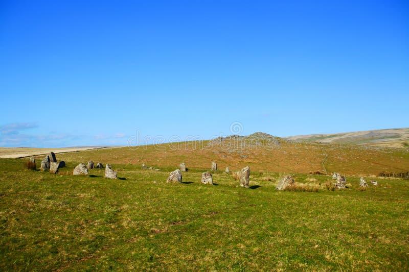 Brisworthy向圈子, dartmoor国家公园德文郡扔石头 图库摄影