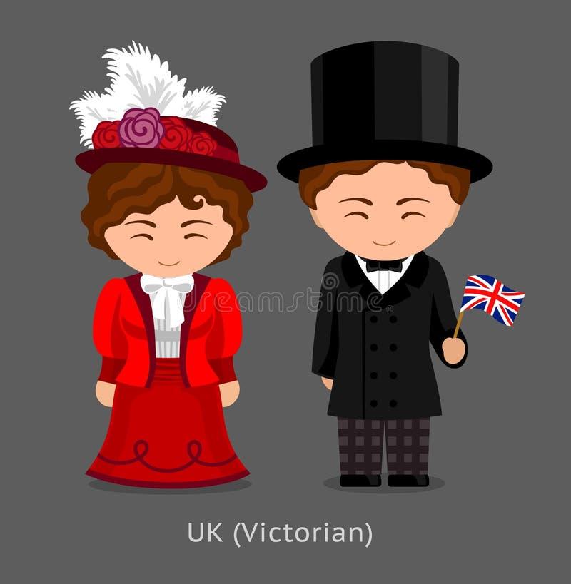 Británicos en vestido nacional con una bandera Moda victoriana libre illustration