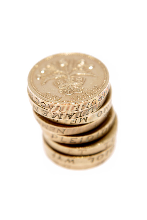 Británicos monedas de una libra imagen de archivo