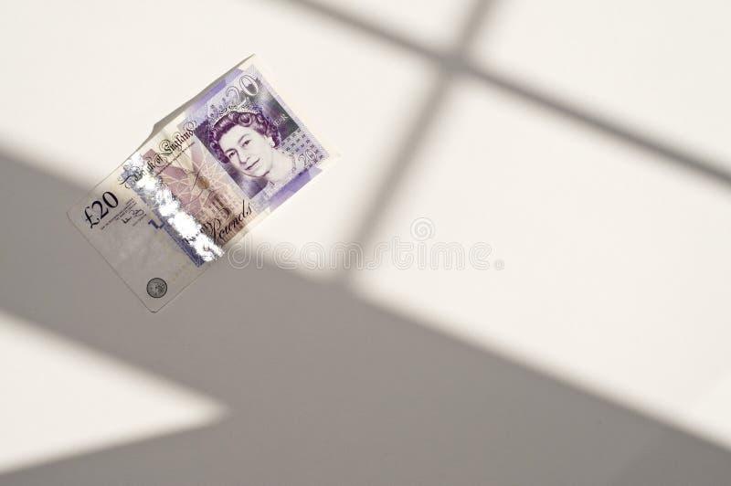 Británicos nota de veinte libras foto de archivo