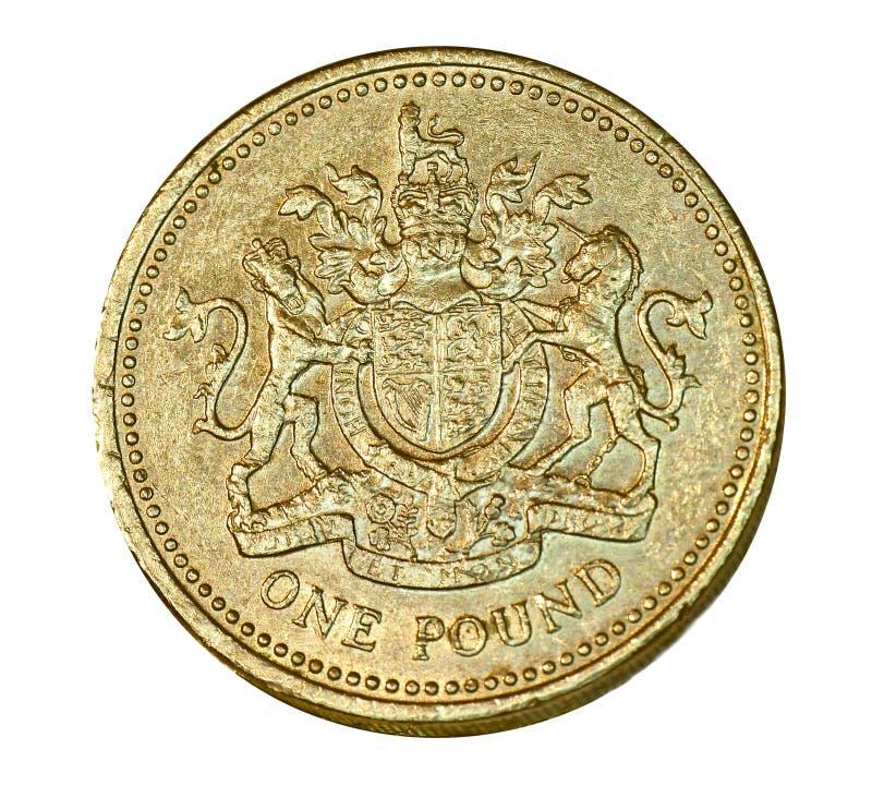 Británicos una moneda de libra imagen de archivo